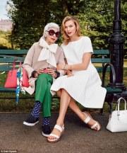 Iris Apfel e Karlie Kloss para a campanha de primavera 2015 da Kate Spade.